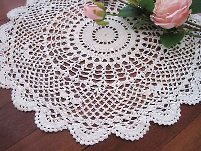 Vintage Style Hand Crochet Floral White Round Cotton Doily 40cm