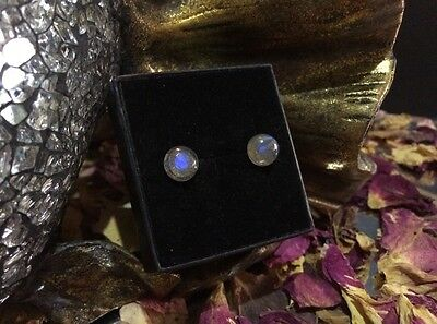 Flashy natural Labradorite 8mm cabochon sterling silver stud earrings 🎨
