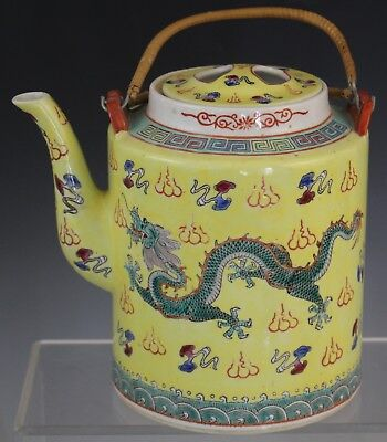 Vintage Chinese Export Imperial Yellow 5 Toed Dragon Porcelain Lidded Teapot