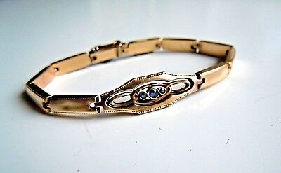 very RARE Antique Gold Double Filled Bracelet with Sapphire stone 19th century