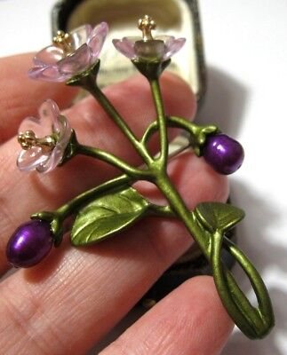 Beautiful Vintage Art Deco Style Enamelled Real Pearl Violet Flowers Pin Brooch