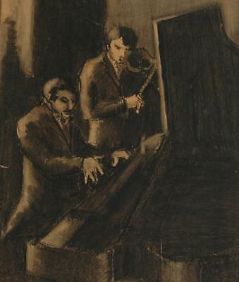 Antique Unsigned Pencil Drawing of a Concert Pianist and Violin Player