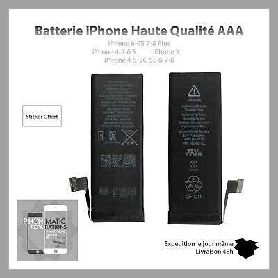BATTERIE INTERNE  iPhone 4/4S/5C/5S/SE/6/6S/7/8/X Plus NEUVE 0 CYCLE - HQ ORI