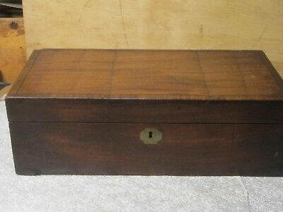 LG VINTAGE ANTIQUE PORTABLE WOODEN WRITING LAP DESK DOCUMENT BOX  needs TLC