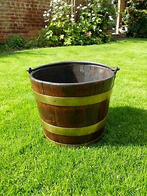 Antique Late 19Th Century English Teak Brass Banded Iron Handle Domestic Bucket