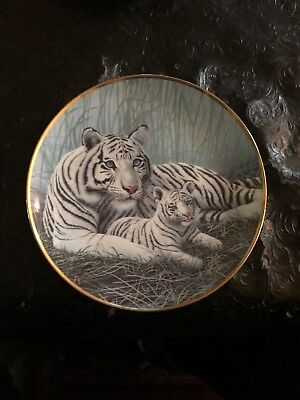 Franklin Mint WHITE TIGERS Collectors Plate. Michael Matherly Ltd Ed Plate