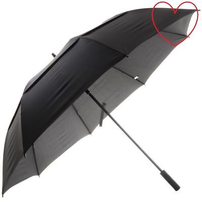 Large Automatic Golf Umbrella Windproof Vented Canopy Brolly Black