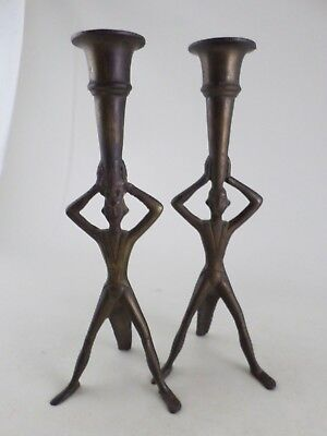 Pair Cast Bronze Metal Antique Figural Man Candlesticks Candle Holders REPAIRED