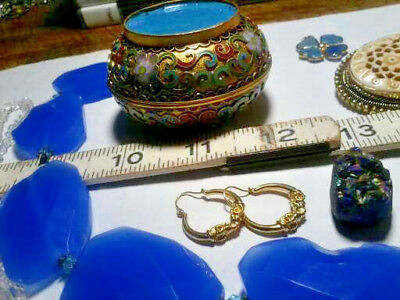 LOT OF VINTAGE ETHNIC JEWELRY WEAR REPAIR, SOME STONE and CLOISSONE TRINKET BOX