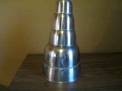 Set of 5 Vintage Interpur Stainless Steel Stacking Nesting Mixing Bowls Cooking