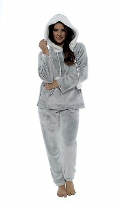 Women's Shimmer Fleece Pyjamas, Fluffy Soft Hooded Twosie Pyjama Set, LN769