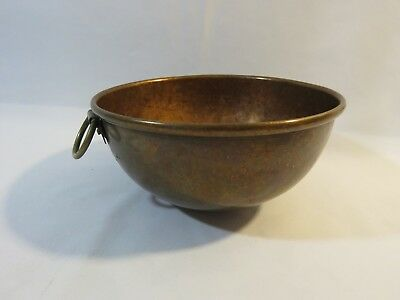 """Vintage Copper Mixing Bowl Round with Ring Handle 8½"""" Solid Piece Round Bottom"""