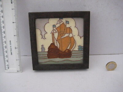 Rare Vintage Rhead Tubelined Ship Galleon Tile  H&r Johnson Nautical Travel