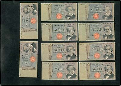 ITALY 1000 Lire (1969) Set of 10 banknotes