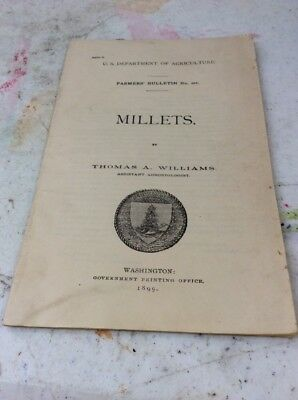 US DEPARTMENT OF AGRICULTURE FARMERS BULLETIN Millets 1899
