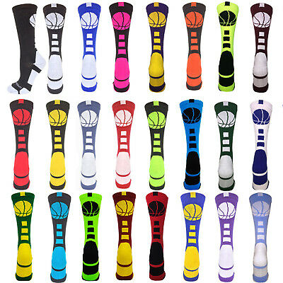 Basketball Crew Socks Ball Girls Boys Logo Team Elite Fun Funky Sports Athletic