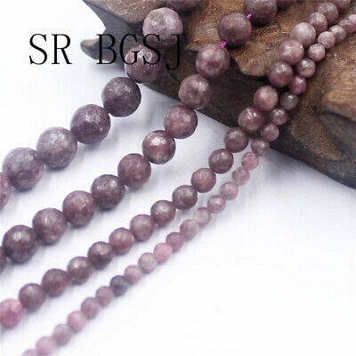 "Jewelry Round Faceted Gemstone Pink Lepidolite Beads Strand 15""4 6 8 10mm"
