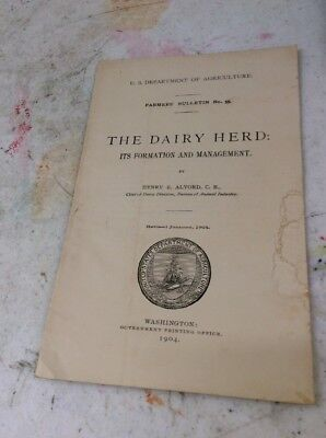 US DEPARTMENT OF AGRICULTURE FARMERS BULLETIN The Dairy Herd Formation 1904