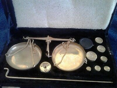 Vintage Brass Gold Scale in Case