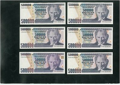 TURKEY 500 000 Lira (1970) Set of 10 banknotes