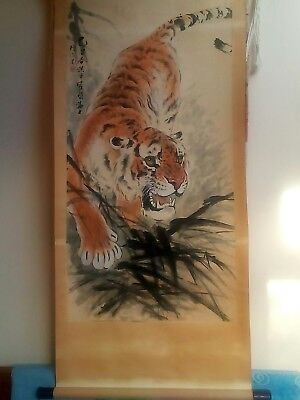 Vintage Chinese Scroll Painting Of A Tiger