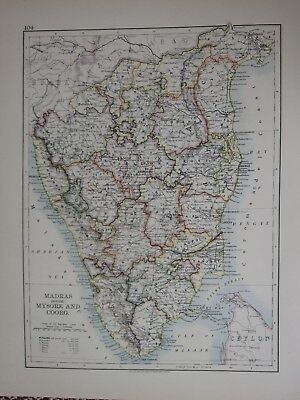 1897 Victorian Map India ~ Madras South Mysore & Coorg Tanjore Madura