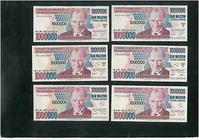 TURKEY 1 Mln Lira (1970) Set of 10 banknotes