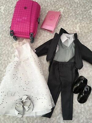 Bundle of DESIGN A FRIEND Doll Bride & Groom Outfits + Case and Passport