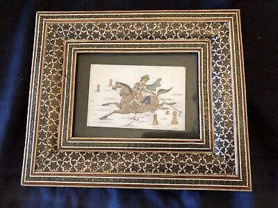 vintage Persian hand painted khatam framed picture man Playing Polo Or Chess