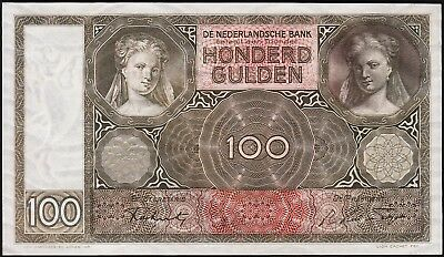 NETHERLANDS 100 GULDEN, 8 JAN 1944, UNC, P-51c, JA 082228, COMPLETELY WATERMARK