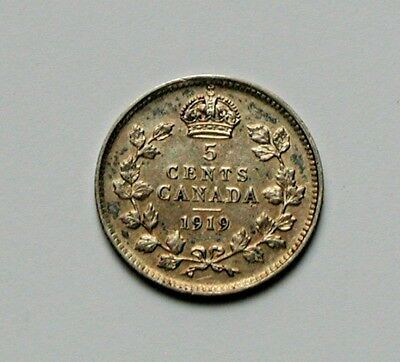 1919 CANADA George V .925 Silver Coin - 5 Cents - toned-lustre - superior rev.