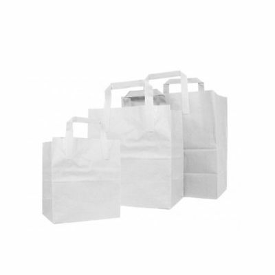 White Kraft Paper Bags SOS Gift bags With Flat Handle Easy Carry Heavy Duty Bags