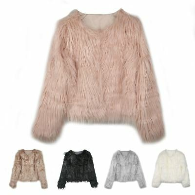 Women Ladies Winter Fluffy Shaggy Fleece Fur Jacket Warm Overcoat Outerwear Coat
