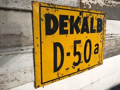 Vintage Dekalb Seed Sign D-50a Corn Farm Tractor Antique Metal Barm Primitive