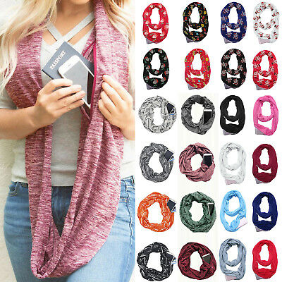 Women Winter Convertible Infinity Scarf With Pocket Zipper Loop Scarf Xmas Gift