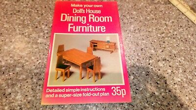 MAKE YOUR OWN DOLL'S HOUSE DINING ROOM FURNITURE Andrew Calder - FOLDAPLAN 1974