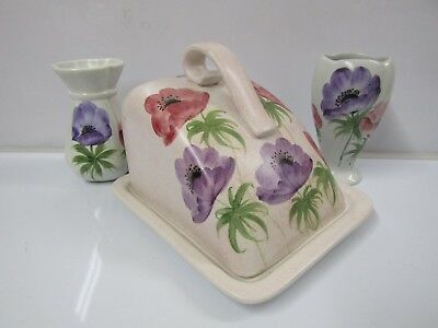 E. RADFORD Hand Painted Butter Dish (Red & Purple Flowers) | Antique Vintage