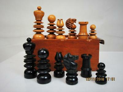 ANTIQUE ENGLISH CHESS SET  by E. Dixon ? K 95 mm AND  MAHOGANY BOX NO BOARD