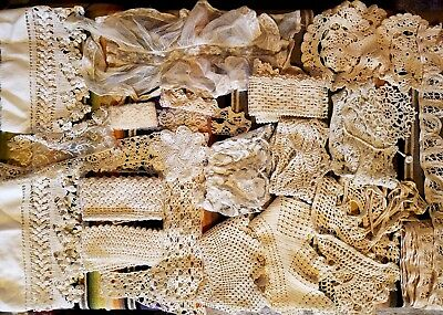 Lot Of Assorted Vintage Lace Sewing Trim Yardages Costuming Crafts Doll Clothes