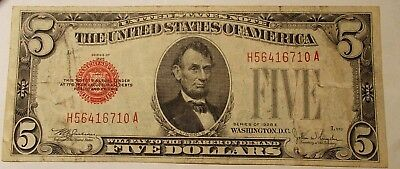 1928 E Five Dollar Red Seal United States Note