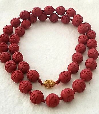 Antique Asian Carved Cinnabar Necklace  Vermeil Closure Hand-Knotted & Gorgeous!