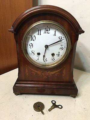 Beautiful Antique Ansonia Inlaid Bracket Clock English Regency Style Elegant