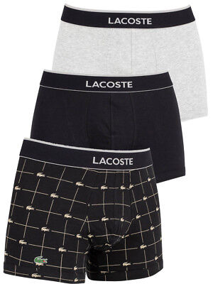 64e00912 LACOSTE MENS COTTON Stretch 3 Pack Boxer Trunk, Grey / Blue Croc ...