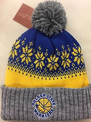 Golden State Warriors Mitchell   Ness Artic Snowflake Sports Knit Beanie Hat 67bb58a496e1