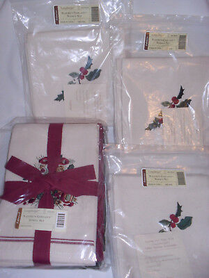 Longaberger Nature's Garland Towel Set & 6 Nature's Garland Napkins ~ New In Pac