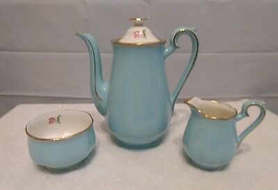 RARE Beautiful Original Vintage Hall China Blue Bell Pink Coffee Set 4 piece