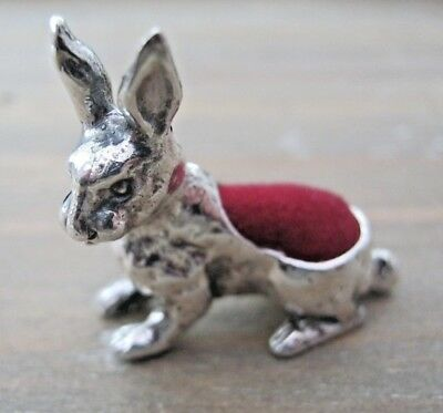 Pretty Antique Style Hallmarked Sterling Silver Hare Rabbit Pin Cushion