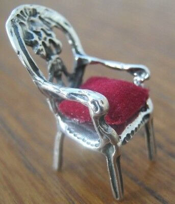 Incredibly Sweet Balloon Back Arm Chair Solid Sterling Silver Pin Cushion - Red