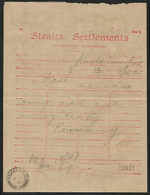 (111cents) Malaya Straits Settlements Government Telegraphs used 1922