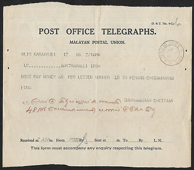 (111cents) Malaya Ipoh Telegraph used 1936 with Envelope
